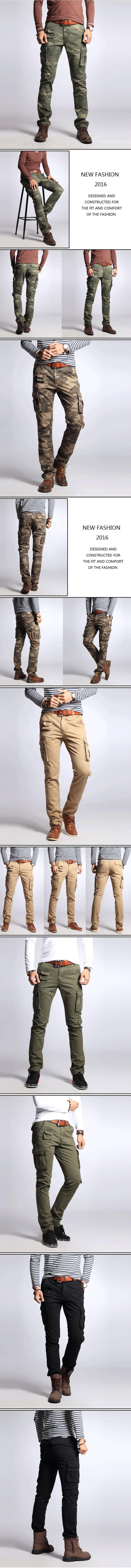 รองเท้าชาย กางเกงขายาว overalls กระเป๋าข้าง
