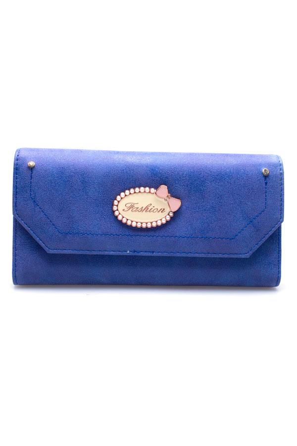 กระเป๋าสตางค์ นำเข้า สีน้ำเงิน ใบยาว