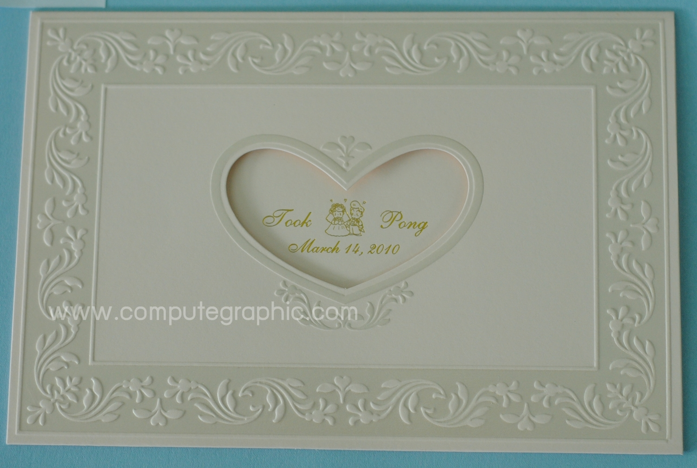 การ์ดแต่งงานแนวนอนแบบสามพับ (มี 3 สี ครีม,ชมพู,ครีมขอบทอง)
