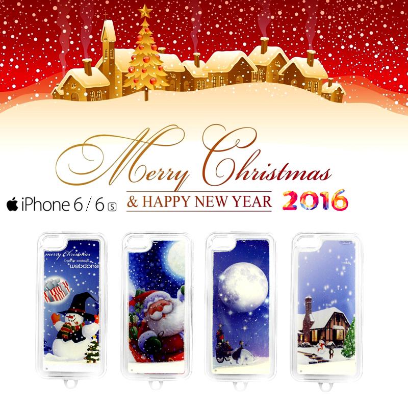 "Case TPU ครอบหลัง iPhone 6/6s X'mas ฟรุ้งฟริ้งหิมะตก ""Ho Ho Hoo Merry Christmas"""