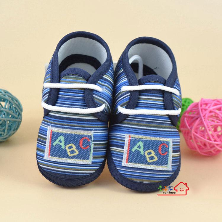 รองเท้าเด็กอ่อนหุ้มส้น ผู้ชาย สีกรมท่าริ้ว ลาย ABC