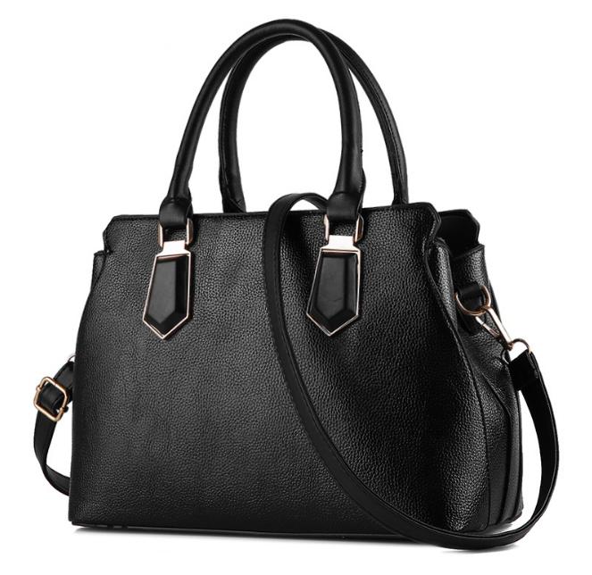 [ พร้อมส่ง ] - กระเป๋าแฟชั่น ถือ/สะพาย สีดำเรียบหรู ทรงตั้งได้ ดีไซน์สวยเรียบหรู ดูดี งานหนังคุณภาพ เหมาะทุกโอกาสการใช้งาน