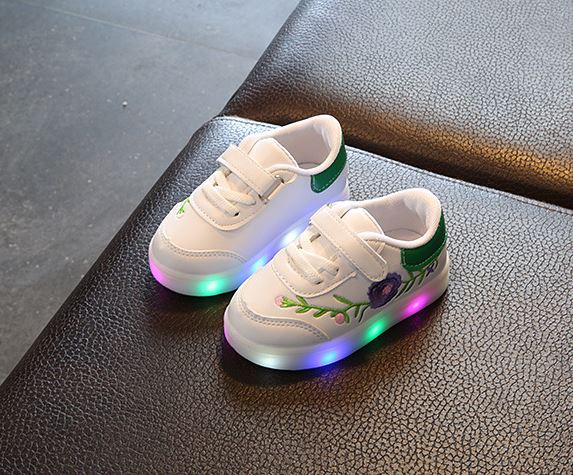 รองเท้ากีฬาเด็กชาย - เด็กหญิงสีดำ เทปกาว มีไฟวิ้บวัว