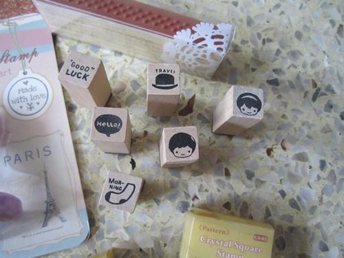 (มือสอง) Set ตัวปั้ม ดช ดญ 6 อัน แถมแป้นหมึกสองสี 1 แป้น