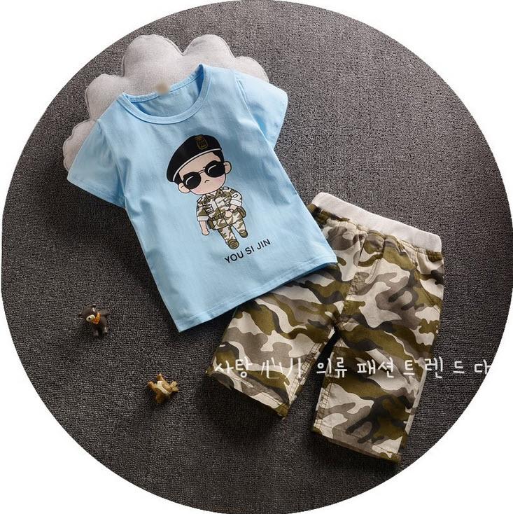 ชุด 2 ชิ้น เสื้อลายกัปตันยูชีจิน + กางเกางลายพลาง มันจะน่ารักหน่อย ๆ