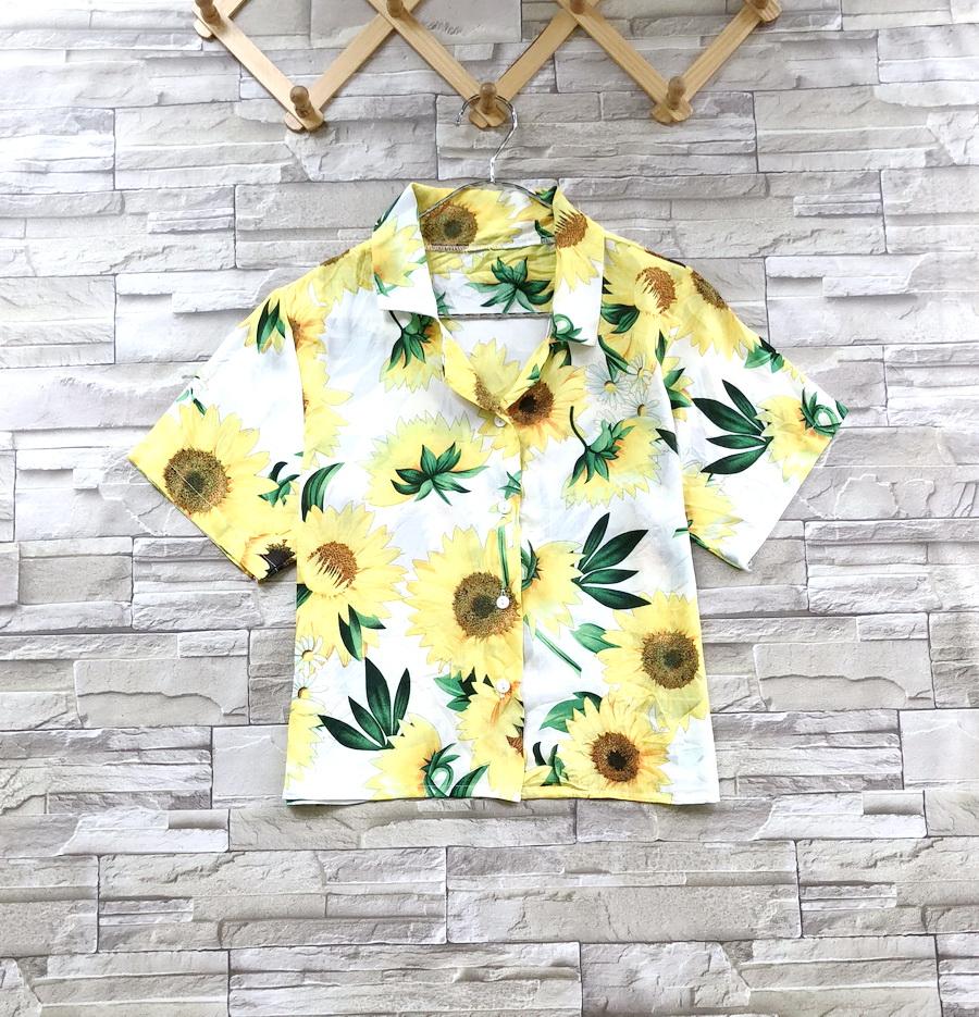 ส่ง:เสื้อปกฮาวายผ้าสปันลายดอกทานตะวันสดใส/อก36