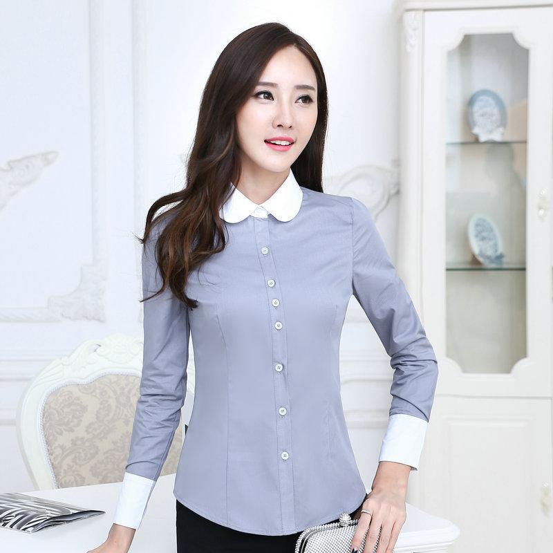 เสื้อเชิ้ตทำงานแขนยาวสีเทา ปกขาว สำหรับเป็นชุดยูนิฟอร์ม ชุดพนักงาน