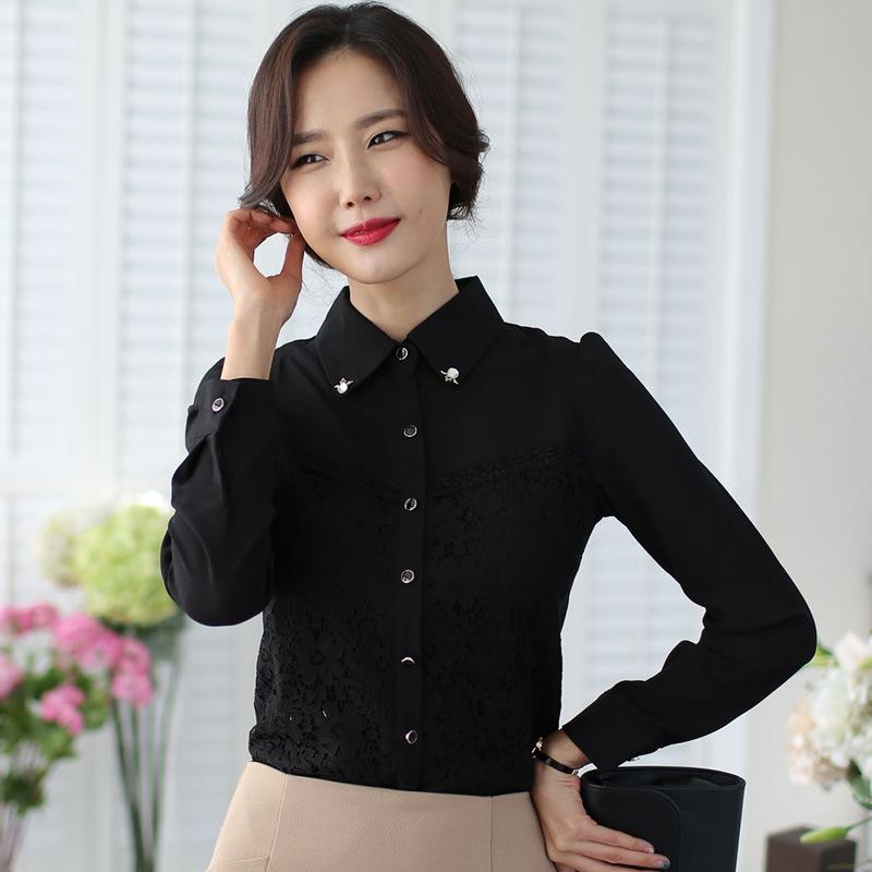 เสื้อเชิ้ตทำงานแขนยาวสีดำ ด้านหน้าลูกไม้ สวยเรียบร้อย