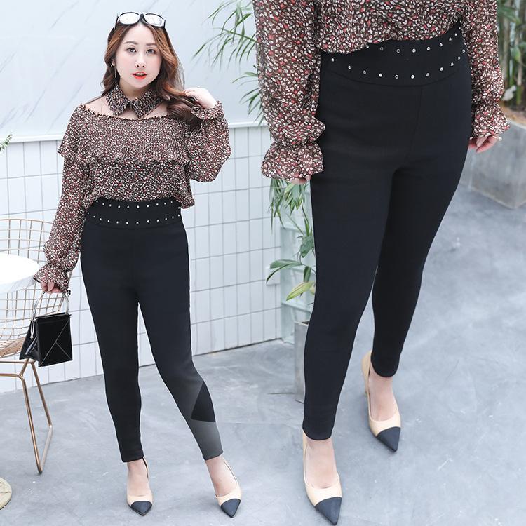 กางเกงยืดขายาวสีดำ เอวแต่งเพชร (XL,2XL,3XL,4XL) YK006