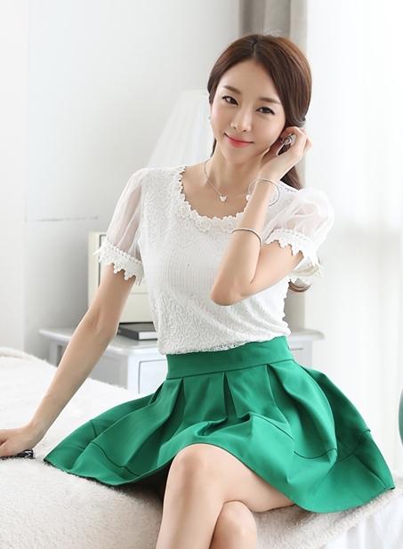เสื้อทำงานแขนสั้นแฟชั่นน่ารักๆ สีขาว