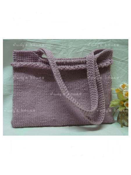 กระเป๋าถักนิตติ้งสีม่วงกะปิ