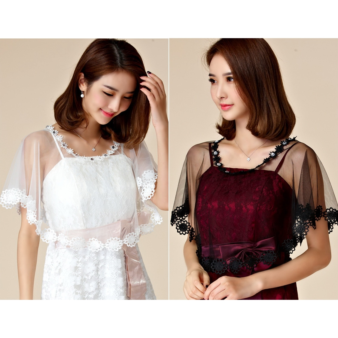 ผ้าคลุมไหล่ สีดำ/สีขาว ขนาดฟรีไซส์(F) JK-9668