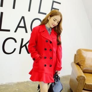 """size S""""พร้อมส่ง""""เสื้อผ้าแฟชั่นสไตล์เกาหลี ราคาถูก เสื้อโค้ทสีแดง กระดุม 8 เม็ด กระเป๋า 2 ข้าง กระดุมแขน2ข้าง ชายระบาย มีซับใน -size S"""