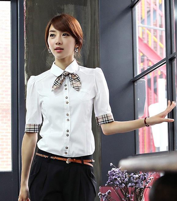 เสื้อเชิ้ตทำงานผู้หญิงแขน 2 ส่วน สีขาว