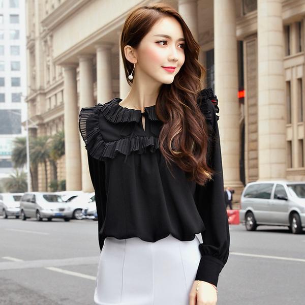 เสื้อชีฟองแขนยาวไซส์ใหญ่สไตล์เกาหลี สีดำ (F,XL,2XL,3XL,4XL,5XL) C-3102
