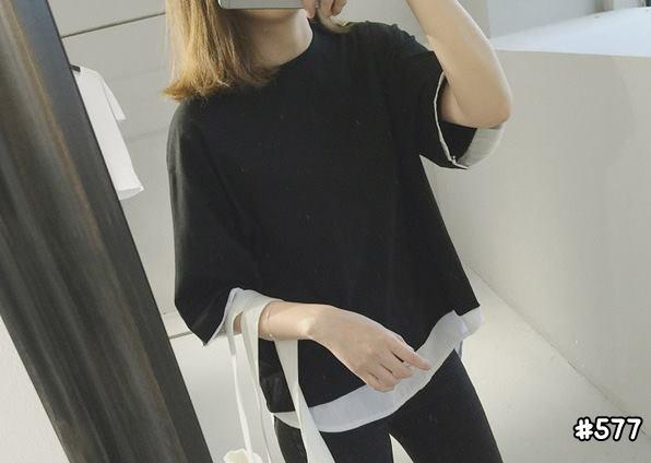 เสื้อยืดสีพื้น Oversize แต่งหลอก2ชั้นเก๋ๆ สีดำ 577(A)