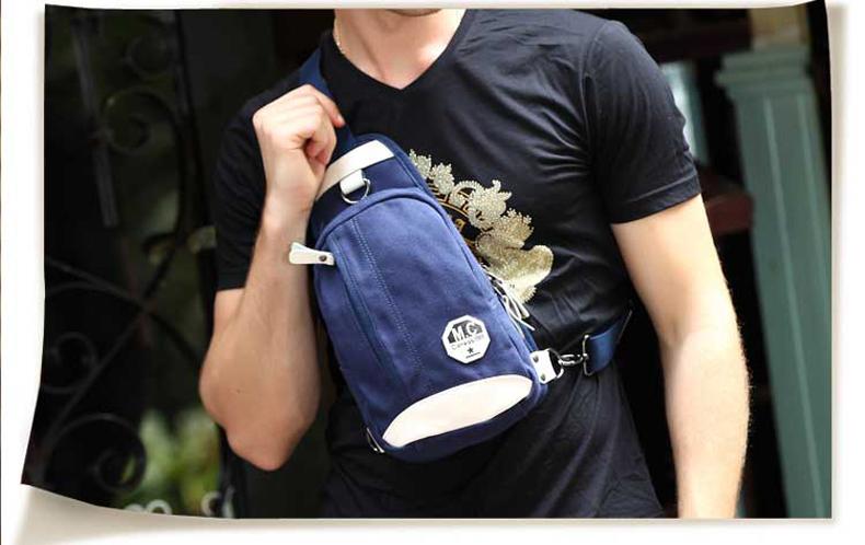 กระเป๋าคาดอกผู้ชาย สีน้ำเงิน ผ้าแคนวาส กันน้ำ แต่งหนังสีขาวเท่ห์ สายคาดอกปรับได้ ใส่ ipad mini ได้