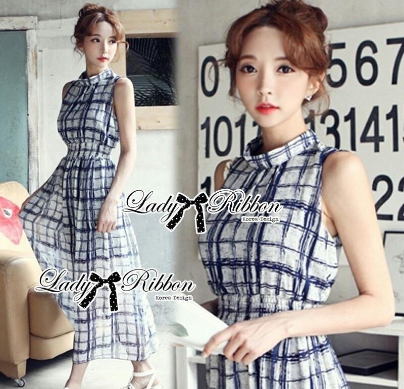 Lady Ribbon's Made Lady Helena Summer Seductive Check Printed Maxi Dress
