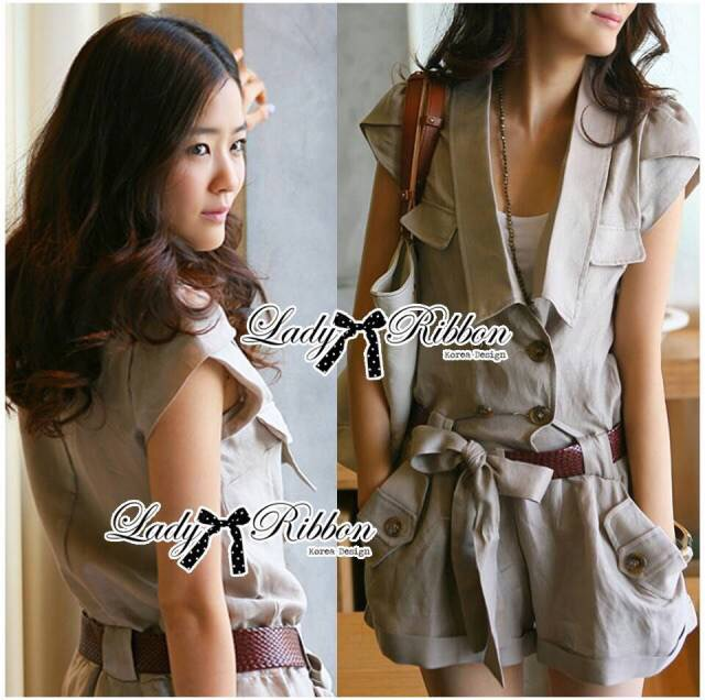 Lady Ribbon's Made Lady Paula Safari Jacket Playsuit with belt in Camel