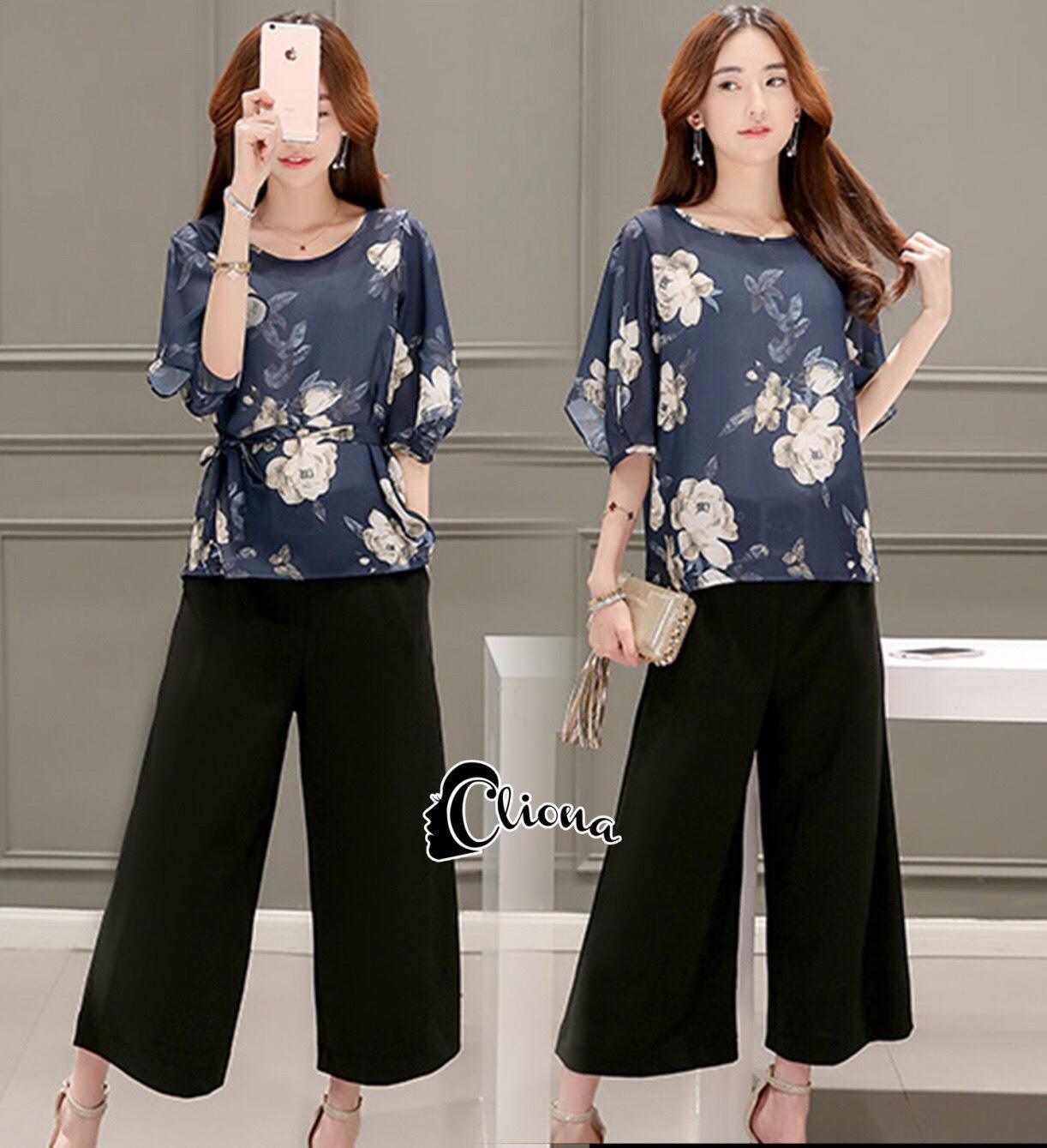 เสื้อผ้าเกาหลี พร้อมส่งGrace Floral Top + Pant Set