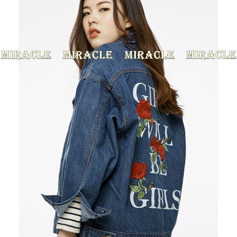 เสื้อผ้าเกาหลีพร้อมส่ง Jacket..ยีนส์สุดแนว ด้านหลังเสื้อเป็นทั้งงานปักตรงกุหลาบ