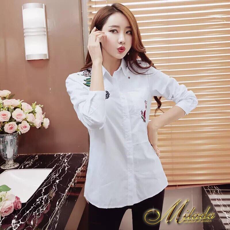 เสื้อผ้าเกาหลีพร้อมส่ง เสื้อเชิ้ต แขนยาว เนื้อผ้า cotton 100% เนื้อผ้าดีมาก