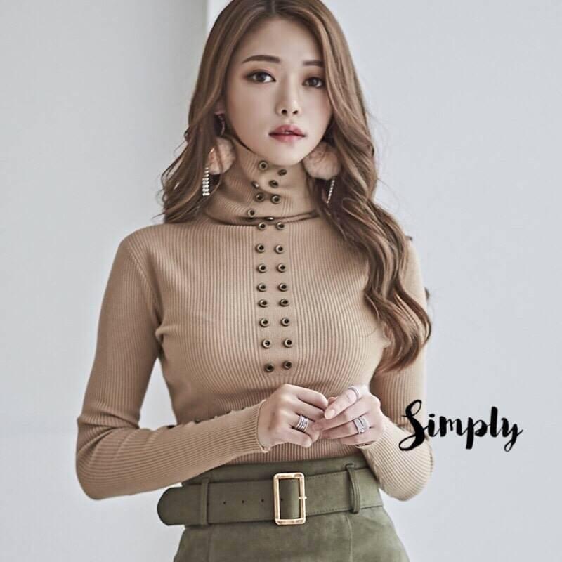 เสื้อผ้าเกาหลีพร้อมส่ง ไหมพรมคอเต่า สไตล์เกาหลีแต่งกระดุม