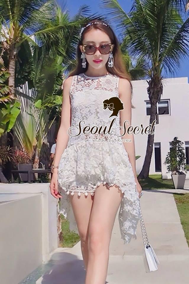 ( พร้อมส่ง) Set White Cami Blossom Lace match with Short by Seoul Secret