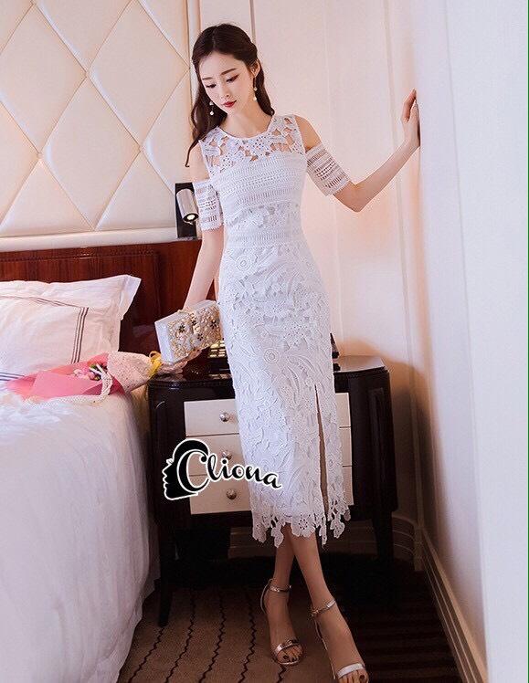 ชุดเดรสเกาหลีพร้อมส่ง Dress ลูกไม้สีขาวงานตัดเย็บอย่างดี
