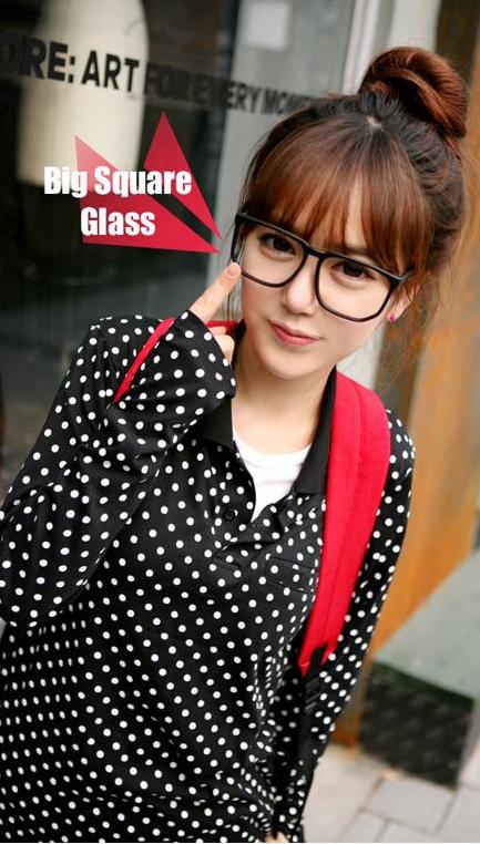 แว่นตาแฟชั่นเกาหลี สีดำมัน (พร้อมเลนส์)