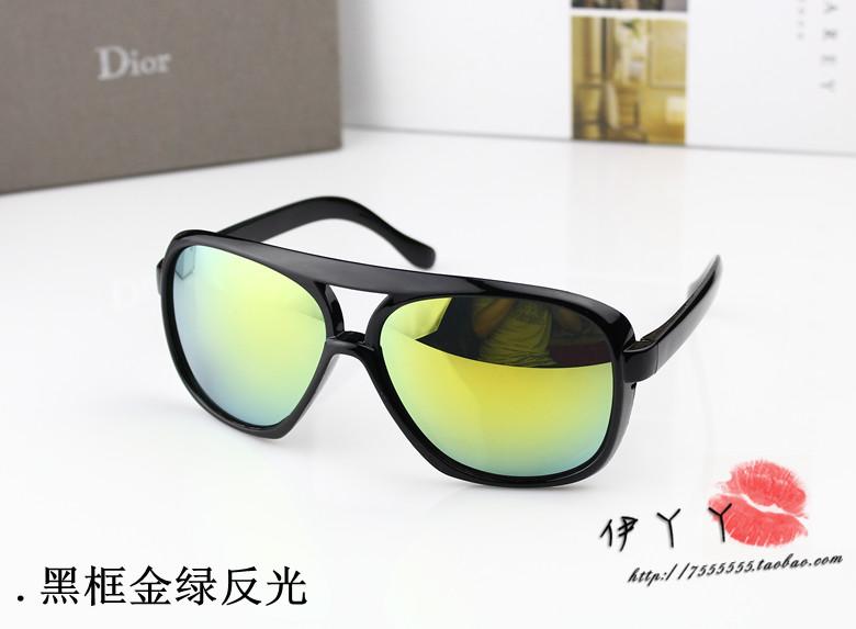 แว่นตากันแดดแฟชั่นเกาหลี กรอบดำมันเลนส์ปรอทสีเขียวเหลือง