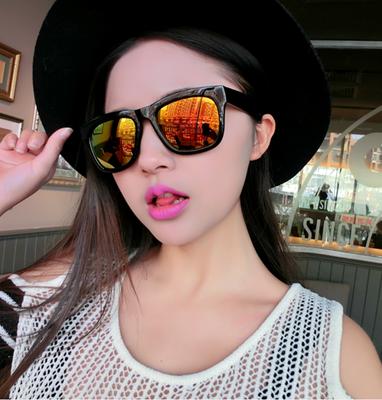 แว่นตากันแดดแฟชั่นเกาหลี กรอบดำมัน เลนส์ปรอทสีทอง