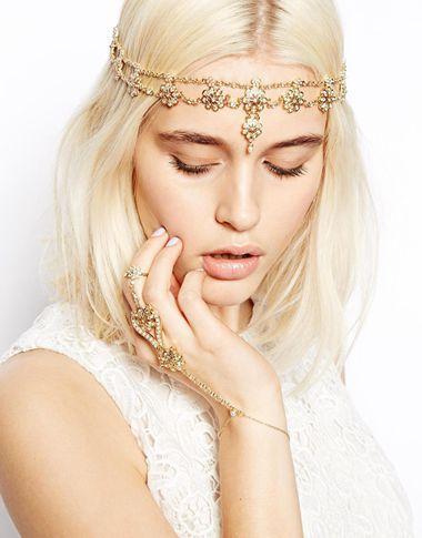 สร้อย Pearl flowers hair band Crown