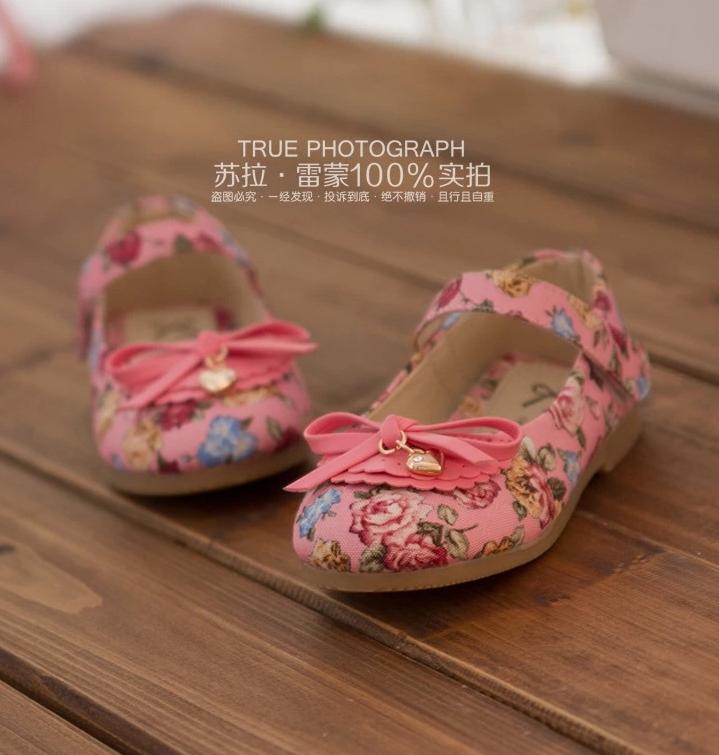 รองเท้าเด็ก ลายดอกไม้ สีชมพู