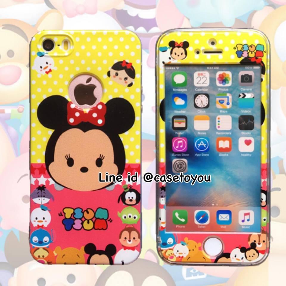 เคสประกบหน้าแข็ง หลังนิ่ม Minnie iPhone 5/5S/SE