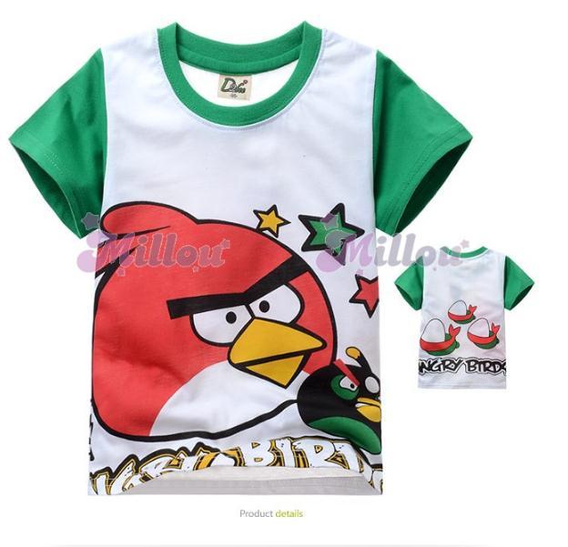 Millou เสื้อยืดแขนสั้น Angry birds สีขาว แขนสีเขียว