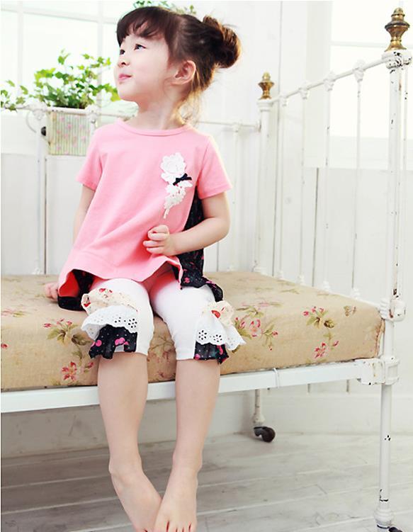 ชุดเซ็ท เสื้อ+กางเกงสีชมพู