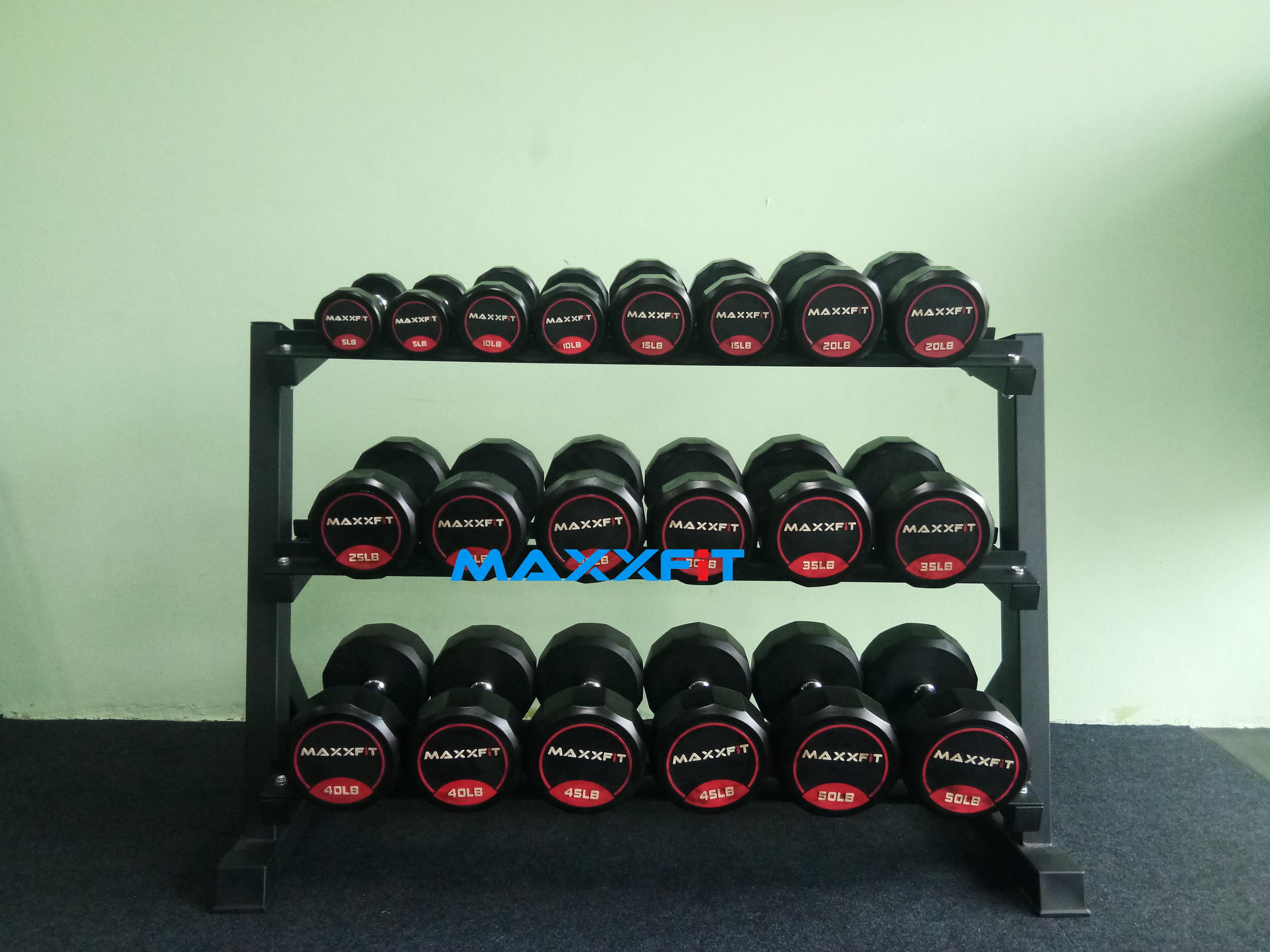 ชุดดัมเบล MAXXFiT ทรง 12 เหลี่ยม ขนาด 5 - 50 LBS. (10 คู่) พร้อมชั้นวาง 3 ชั้น สีดำ