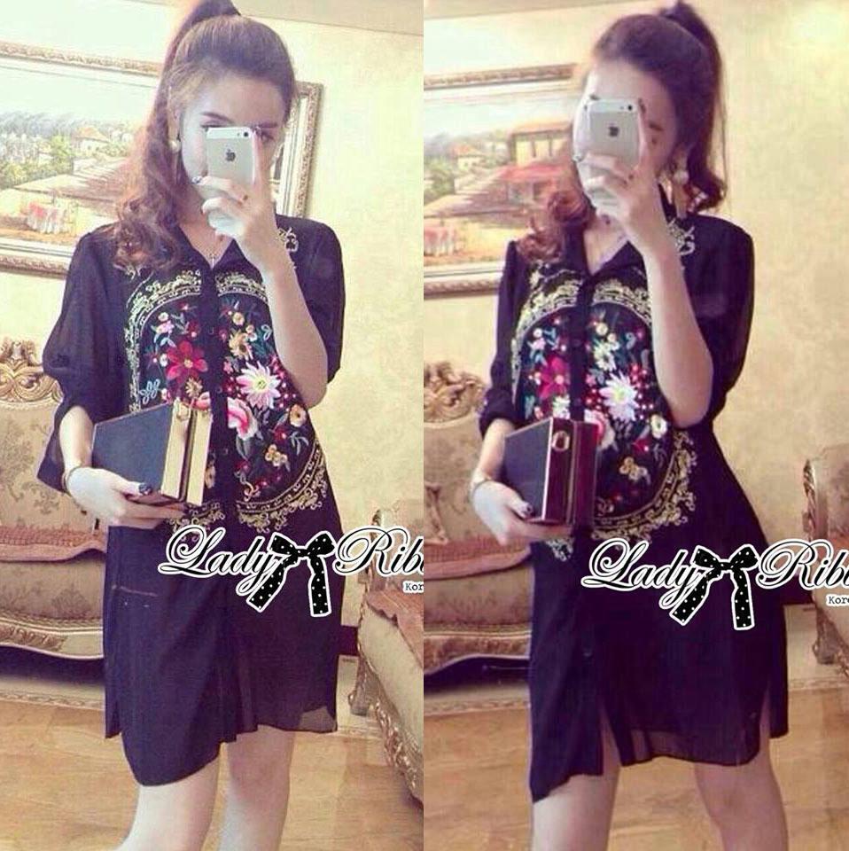 DR-LR-166 Lady Kate Flower Embroidered Shirt Dress in Black