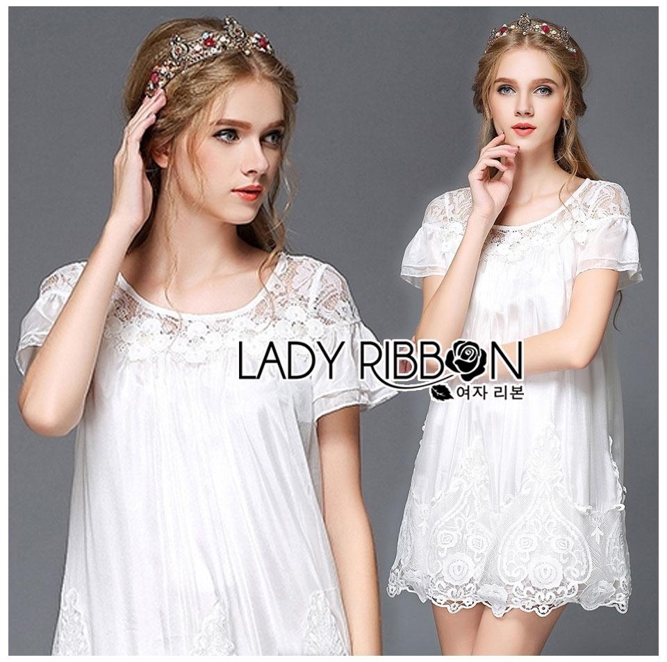 Lady Mandy Pretty Feminine Embellished Lace and Chiffon Dress L226-75C04