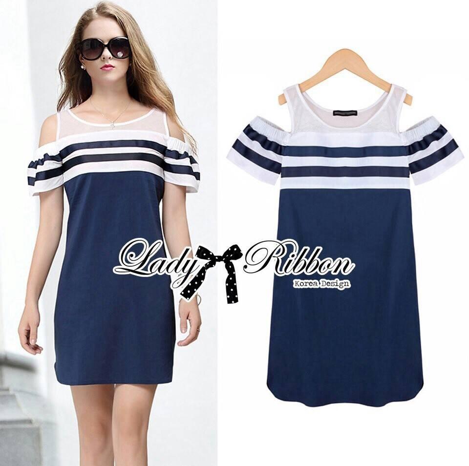 DR-LR-138 Lady Isla Glam Chic Navy Blue Striped Dress