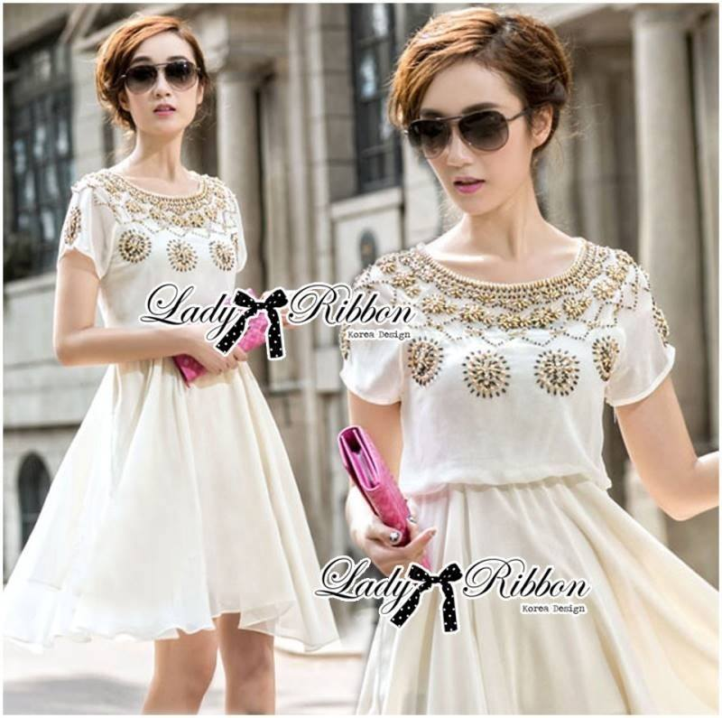 Lady Lyla Indian Gold Studded and Embellished Chiffon Dress L150-89E04