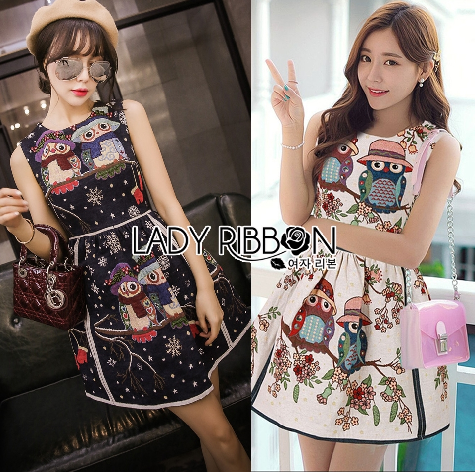 Lady Jessica Super Cute and Sweet Owl Embroidered Dress L201-75E12