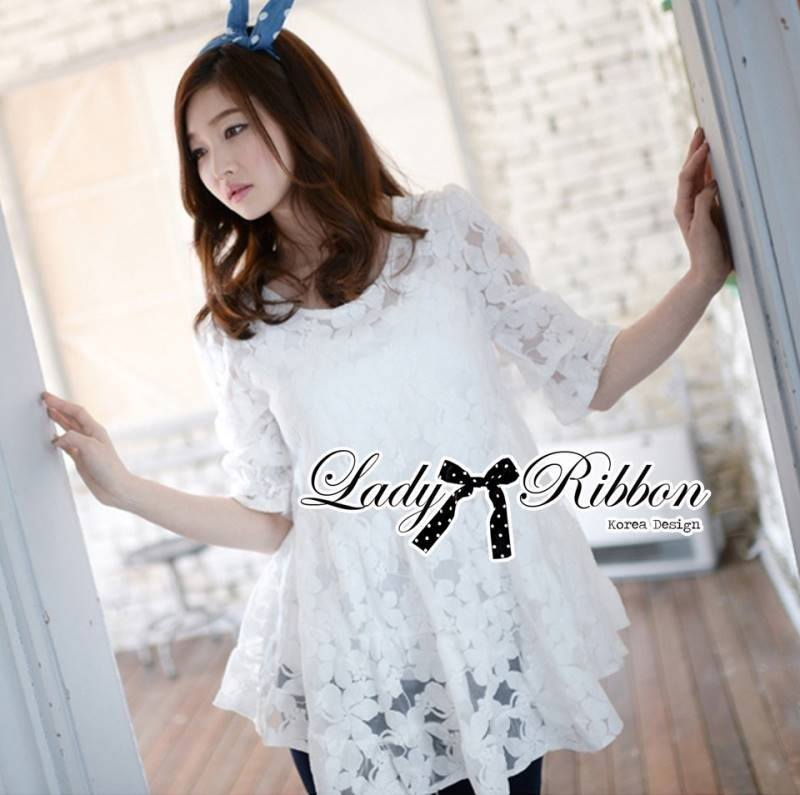 Lady Michelle Floral Embroidered Layer Tulle Blouse in White L144-69C05