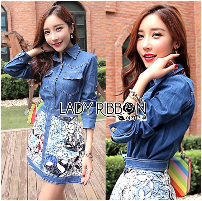Lady Courtney Denim Jacket and Floral Graphic Printed Skirt Ensemble Set L188-75C05