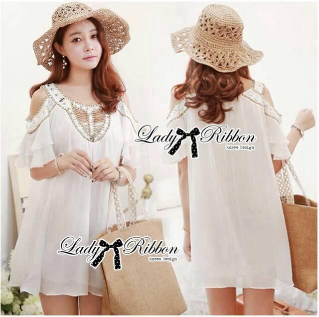 DR-LR-222 Temperley London Giovanna Embellished White Tunic Dress
