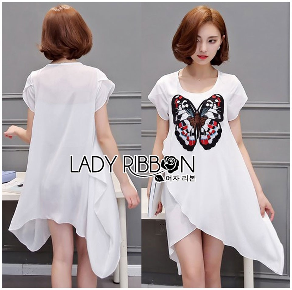 Lady Kimberley Butterfly Embroidered Asymmetric Chiffon Long Top L267-6504
