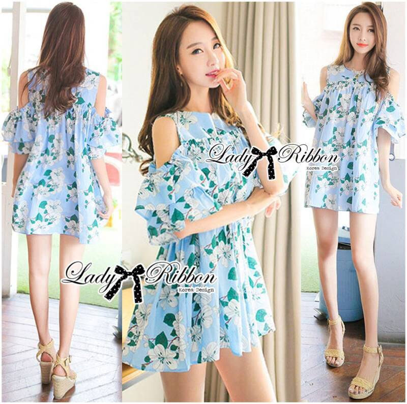 Lady Margaret Sweet Sexy Cut-Out Flower Printed Blue Dress