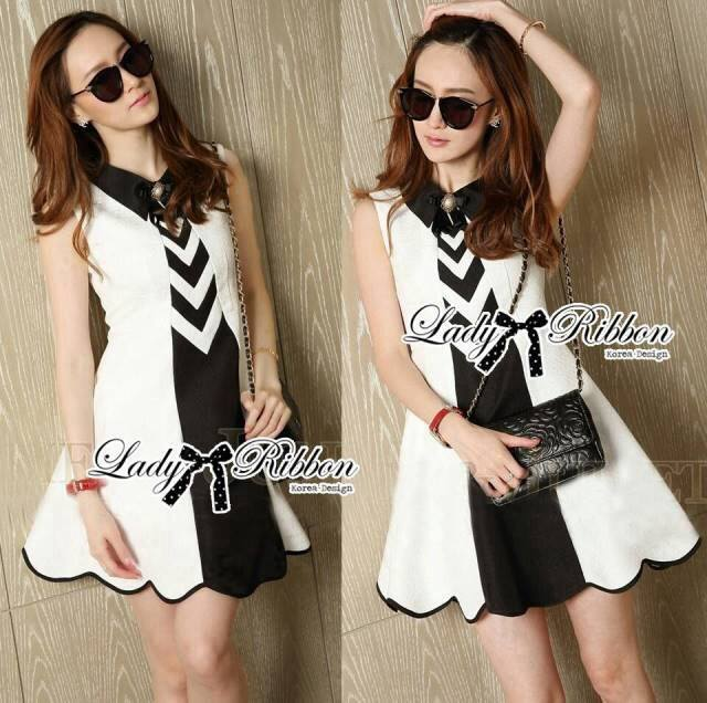 DR-LR-237 Lady Cindy Monochrome Graphic Shirt Dress