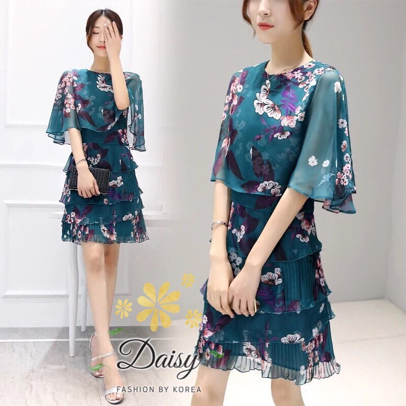 Daisy chiffon silk flower pleat green dress